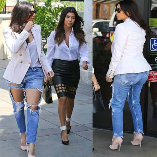 7ab6119f7b69 Kim exposed in heavily ripped jeans! , kim kardashian stepped out in  heavily ripped jeans
