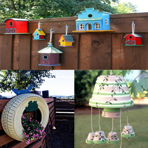 Use household waste to decorate your garden slide 1 for Making of decorative item from waste material