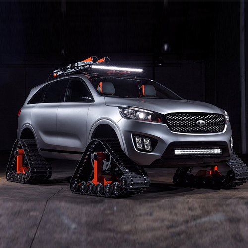 World's first car with triangular tanks tracks, world`s first car with triangular tanks tracks,  kia unveils concept car with triangular tanks tracks instead of wheels - and says it can drive on almost any surface,  car with triangular tanks tracks,  new invention,  technology, ,  automobiles,  sorento ski gondola,  ifairer