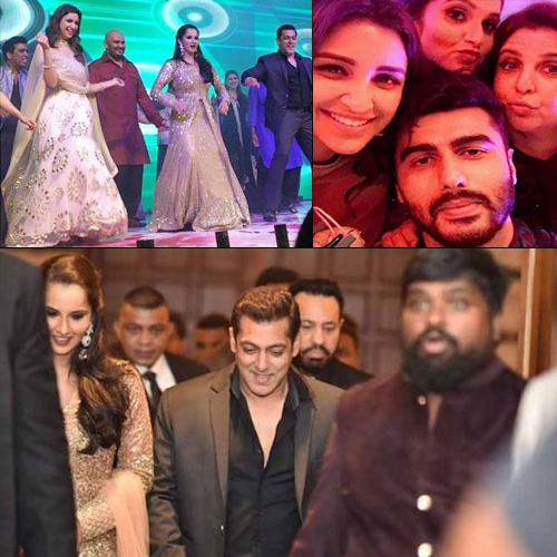 Bollywood celebs shake a leg at Sania Mirza's sister's Sangeet, bollywood celebs shake a leg at sania mirza`s sister`s sangeet,  salman and parineeti shake a leg at sania mirza`s sister`s sangeet,  salman khan,  parineeti chopra,  arjun kapoor,  huma,  bollywood news,  bollywood gossip