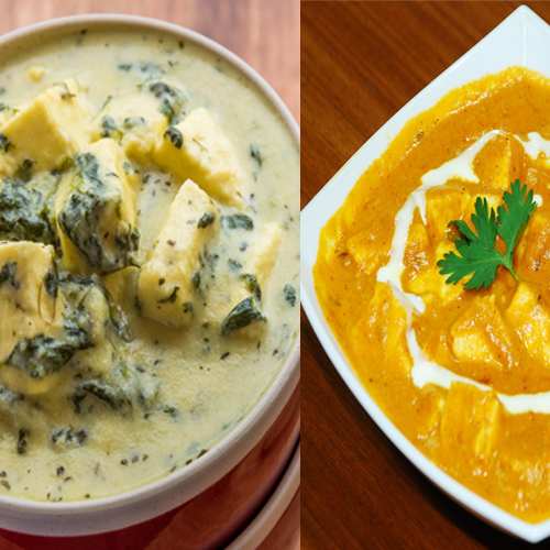 Main course dishes of Paneer