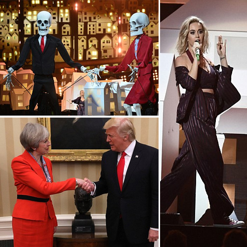 Katy Perry uses Skeletons to mock Donald Trump at Brit Awards
