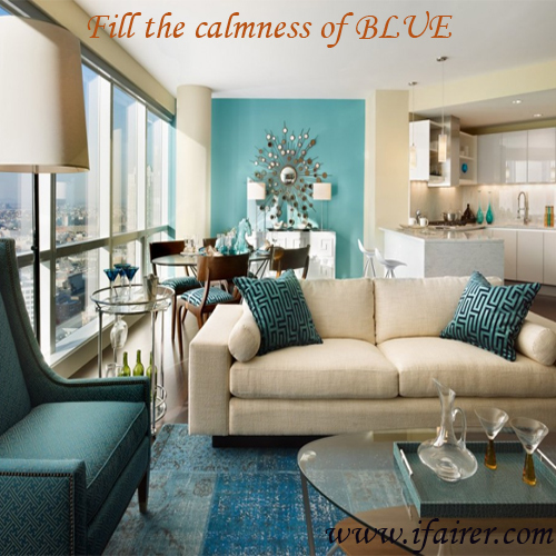 7 Smart ways to decorate Living room with Blue colour