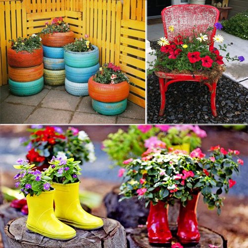 Ideas to decorate Garden with recycled items