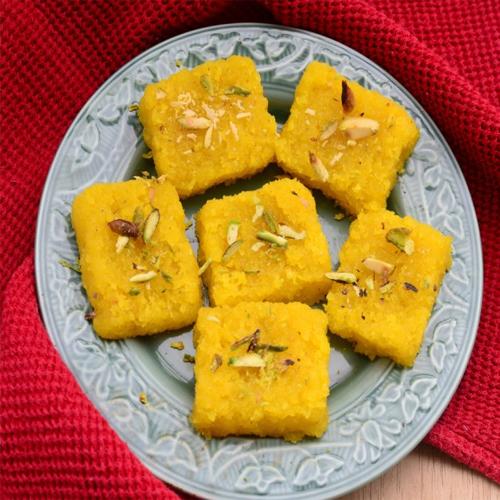 Kesar Coconut Barfi recipe