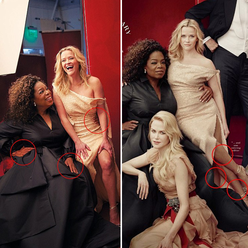 Vanity Fair photoshop fail with extra limbs, vanity fair photoshop fail with extra limbs,  reese witherspoon,  vanity fair photoshop,  extra limbs,  oprah winfrey,  hollywood news,  hollywood gossip,  ifairer