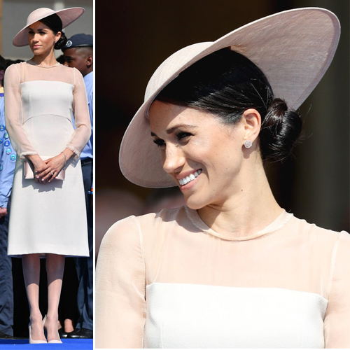 Meghan Markle's first appearance after the royal wedding, meghan markle first outfit after the royal wedding,  meghan markle wears sheer peach dress by designer goat,  duchess of sussex,  prince harry,  hollywood news,  hollywood gossip,  ifairer