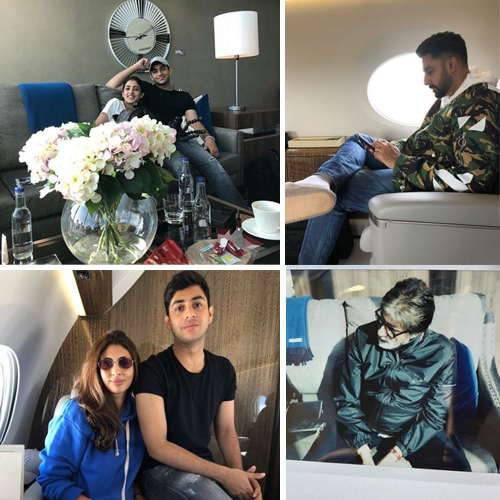Inside pics: Amitabh Bachchan's jet look like a luxury house, inside pics,  amitabh bachchan jet look like a luxury house,  bachchans jet off to russia for fifa world cup 2018,  navya naveli and agastya,  amitabh bachchan proves a family that mobiles together,  bollywood news,  bollywood gossip,  ifairer