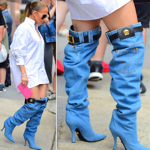 Jennifer Lopez latest fashion trends of denim boots gets trolled, jennifer lopez latest fashion trends of denim boots gets trolled,  jennifer lopez ditches pants for versace denim boots,  gets trolled mercilessly,  jennifer lopez,  hollywood news,  hollywood gossip,  ifairer