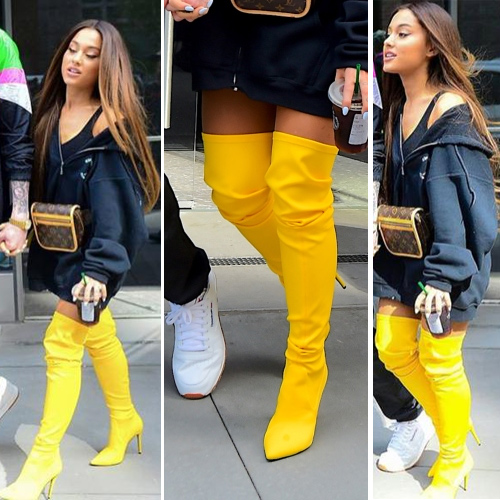 Ariana Grande new fashion trends go viral in pant-less with boots, ariana grande new fashion trends go viral in pant-less with boots,  ariana grande goes pant-less with boots,  ariana grande fashion trends,  hollywood news,  hollywood gossip,  ifairer