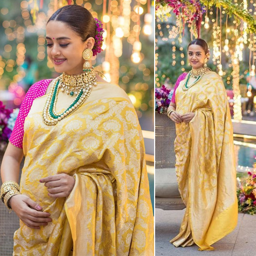 Fashion statement sets by Surveen Chawla at her godh bharai, fashion statement sets by surveen chawla at her godh bharai,  surveen chawla looks radiant in her traditional baby shower photos,  surveen chawla flaunts pregnancy glow,  fashion trends 2019,  latest fashion,  ifairer