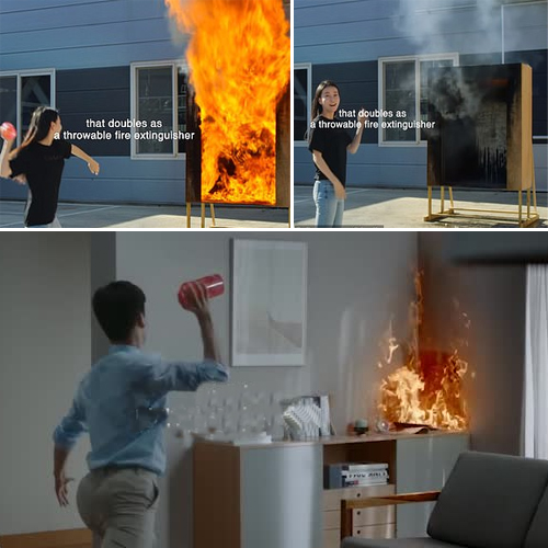 New invention! Samsung made a flower vase that's a throwable fire extinguisher, new invention,  samsung made a flower vase that a throwable fire extinguisher,  samsung develops throwable vase that doubles as a fire extinguisher,  samsung,  technology,  ifairer
