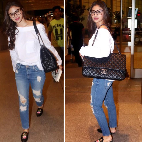 Mouni Roy sets fire at airport in off-shoulder top & denim with Rs 4.3 lakh bag