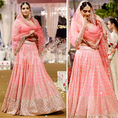 Sonam Kapoor look like a queen in pink lehenga, perfect for this festive season, sonam kapoor look like a queen in pink lehenga,  perfect for this festive season,  sonam kapoor stuns as showstopper for designer abhinav mishra,  sonam kapoor,  sonam kapoor ramp walk,  bollywood news,  bollywood gossip,  ifairer