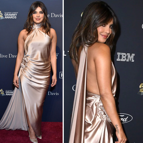 Priyanka Chopra stuns in backless gown at Grammys 2020, priyanka chopra stuns in backless gown at grammys 2020,  priyanka chopra in halter neck backless dress,  pre-grammy party,  grammys 2020,  priyanka chopra,   nicolas jebran,  satin gown,  hollywood news,  hollywood gossip,  ifairer