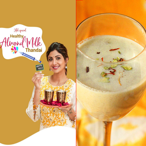 Shilpa Shetty's Holi special recipe: Healthy Almond Milk Thandai , shilpa shetty holi special recipe,  healthy almond milk thandai recipe,  how to make lmond milk thandai,  recipe of lmond milk thandai,  desserts,  ifairer