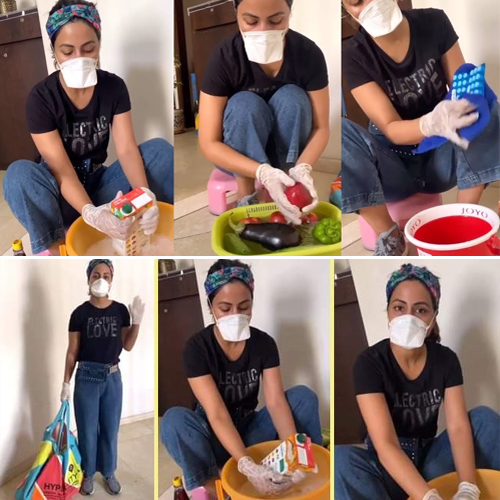 Hina Khan teaches how to not bring the virus home, hina khan teaches how to not bring the virus home,  hina khan steps out to buy groceries,  hina khan,  covid-19,  coronavirus,  coronavirus news,  coronavirus update,  ifairer
