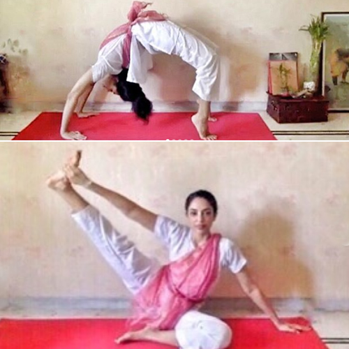 Sobhita Dhulipala does intense yoga stretches at home