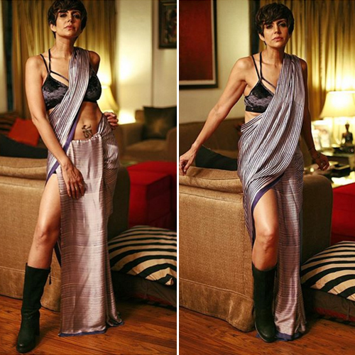 Mandira Bedi set new fashion trends in sari with boots