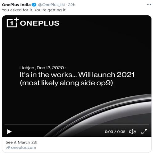 New OnePlus Watch is going to be Launch on March 23, oneplus 9,  oneplus watch,  oneplus,  price rate of oneplus 9 and oneplus watch