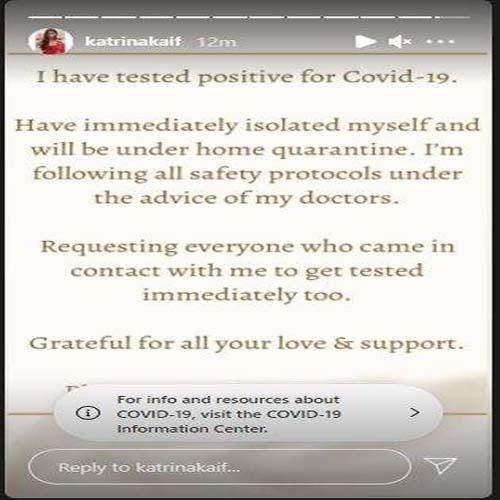 Katrina Kaif Tests Positive For Coronavirus, Gets Home Quarantined, katrina kaif,  coronavirus,  covid-19