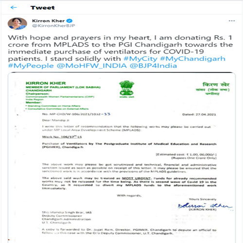 Kirron Kher Allots A Sum Of Rs 1 Crore From MPLADS For Ventilators During Covid-19 , kirron kher,  bjp ,  covid-19 india,  coronavirus