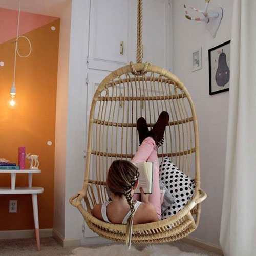 5 Types of Indoor Swings, 5 types of indoor swings, indoor swings,  types of indoor swings,  styles of swings,  swings to be kept in house,  hanging chair made of volcanic basalt fiber,  simple living room swing,  me & u upholstered swing,  swing with the plants,  wooden swing bench