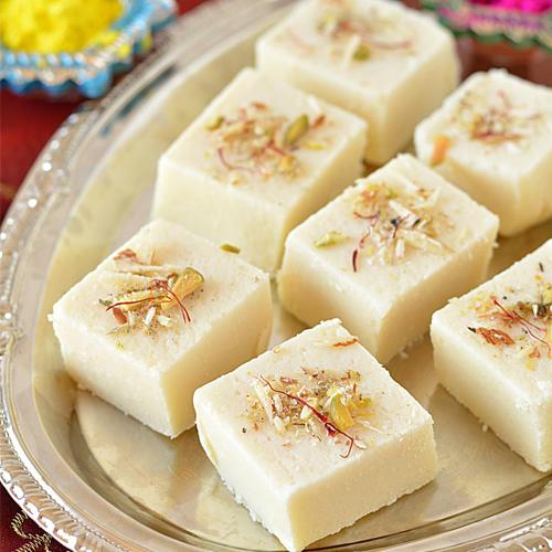 Make Kaju Paneer burfi at home