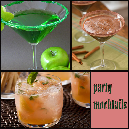 3 Mocktails every party should have..., mocktails,  designated appletini,  virgin grapefruit mojito,  mexican chocolate mock-tini