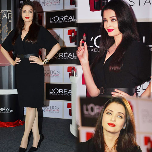 Aishwarya's hot look in red shade of lipstick, aishwarya hot look in red shade of lipstick,  aishwarya rai bachchan launches a new red shade of lipstick,  aishwarya rai unveils new red lipstick,  stuns in black,  aishwarya launches loreal red lipstick,  aishwarya rai bachchan stylish look,  fashion accessories,  ifairer