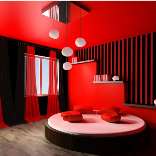 Attractive sexy red colour rooms slide 1 - Deco chambre lit noir ...