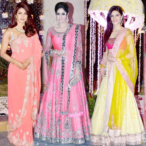 B-Town Divas Stylish Looks , b-town divas stylish looks,  priyanka chopra,  kriti sanon,  sridevi look their stylish best at manish malhotra niece riddhi malhotra wedding reception,  fashion trends 2014,  fashion trends,  fashion tips,  fashion,  ifairer