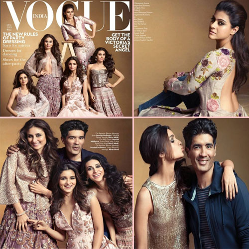 B'wood hotties sizzle on Vogue cover, bollywood hottie sizzle on vogue magazine,  kareena,  alia,  karishma,  kajol,  sridevi on vogue magazine december 2015,  fashion trends 2015,  ifairer
