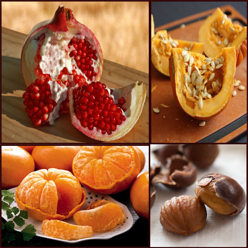 EFFECTIVE fat eliminating FOOD!!, weight loss, lose weight, chestnuts, tangerines, pumpkin, pomegranate