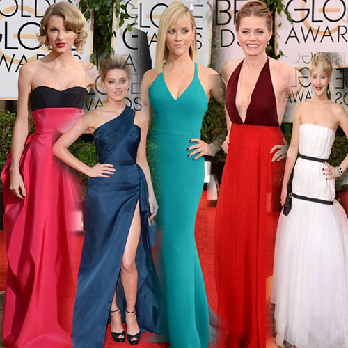 Golden Globe Turns RAINBOW with these STARS.., rainbow of stunning gowns,  stunning gowns,  golden globe,  golden globe awards,  red carpet,  red carpet fashion,  red carpet golden globe awards,  reese witherspoon,  taylor swift,  amy adams,  amber heard,  jennifer lawrence,  jessica chastain