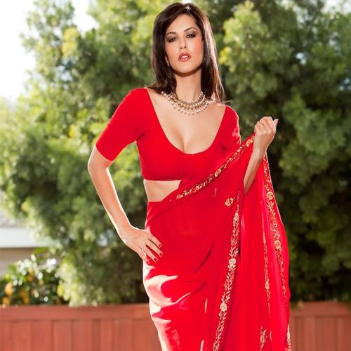 leone saree red sunny porn