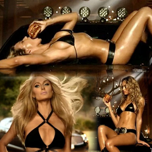 Hungry babes in sexy two piece, hungry babes in sexy two piece,  paris hilton,  carls jr commercial,  hannah ferguson,  carls jr texas bbq thick burger,  hollywood news,  hollywood gossips,  latest news
