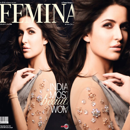 India's Most beautiful woman: kait On Femina Feb 2014, bollywood diva katrina kaif,  katrina kaif,  cover of femina magazine ,  femina cover,  cover scans,  india's most beautiful women,  photo shoots,  bollywood,  bollywood actress,  femina magazine february 2014 issue