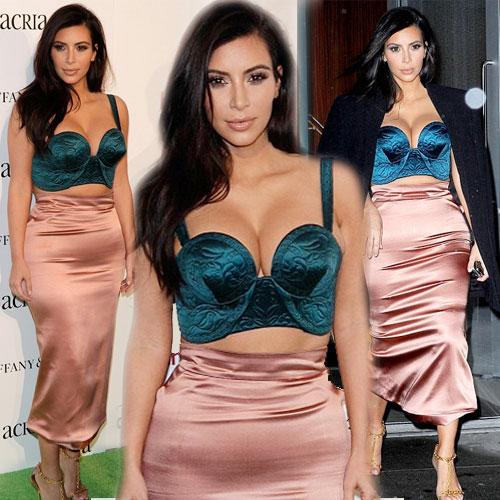 Kim exposed cleavage in green satin, kim exposed cleavage in green satin,  kim kardashian,  latest news of kim kardashian,  hollywood news,  hollywood gossips,  latest news,  ifairer,  sexy kim kardashian