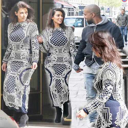 KIM goes hand in hand in embellished dress , kim kardashian,  kanye west,  kim kardashian and kanye west,  kim kardashian and kanye west in paris,  hollywood,  kim kardashian sported embellished navy blue maxi embellished,  hollywood entertainment,  hollywood gossips