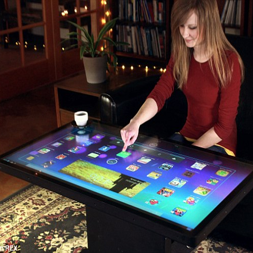 MAKE your TABLET a TABLE.., ideum,  46-inch android touchscreen table,  android,  coffee table tablet,  amazing gadget,  gadget news,  gadget,  make your tablet a table,  gadget launch,  21st century gadget,  new gadget launch,  launch,  recognize up to 60 simultaneous touches,  touch screen table,  32-inch version,  android version 4.1