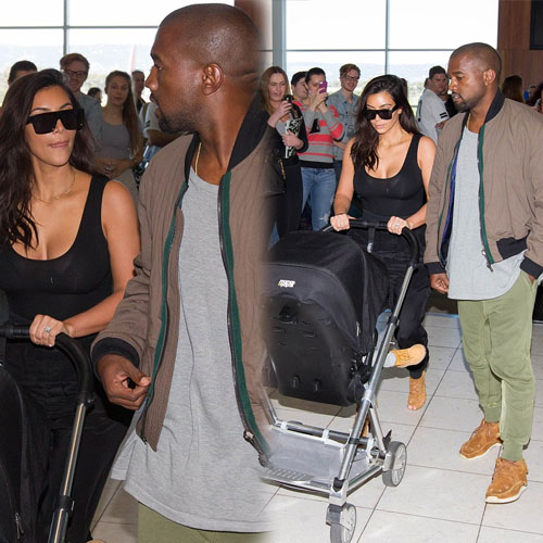 Matching footwear of Kim's family