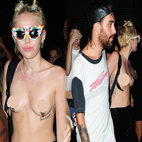 OMG! Miley Goes Topless At Party, pop star miley cyrus,  miley cyrus,  sexy miley cyrus,  hot miley cyrus,  miley cyrus in bikini,  topless miley cyrus,  alexander wang,  new york fashion week,  hollywood,  hollywood news,  ifairer