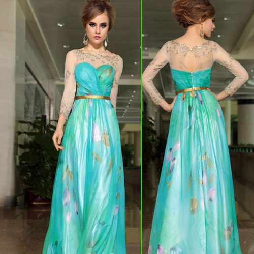 Look Gorgeous in party with Printed one piece , printed one piece,  fashion style,  party dress,  printed gown fashion style 2015,  young girl,  special outfits, girls wear