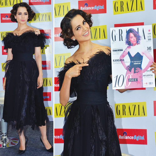 Queen Kangana stuns in black at Grazia`s Cover Event, queen kangana stuns in black at grazias cover event,  kangana looks ravashing in black at fashion event,  grazias cover event,  kangana ranaut,  grazia magazines 100th issue,  entertainment,  bollywood,  ifairer