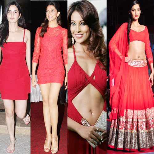 RED defines hotness and so do our divas!!, deepika padukone,  kareena kapoor ,  sonam kapoor,  bipasha basu,  katrina kaif,  bollywood actresses in red color outfit,  latest trend in bollywood,  bollywood divas in red dress,  bollywood,  red in fashion