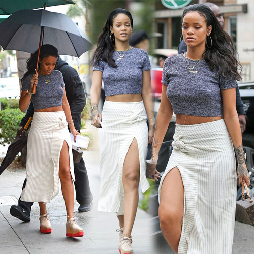 Rihanna sizzles in crop top and exposing skirt, rihanna sizzles in crop top and exposing skirt,  rihanna,  hollywood news,  hollywood gossips,  latest news,  ifairer