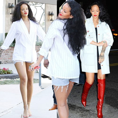 RiRi dressed to thrill, riri dressed to thrill,  rihanna,  rihanna dressed thigh-high boots & oversized shirt,  hollywood,  racy thigh-high red leather boots,  rihanna dressing sense,  fashion,  fashion tips,  fashion accessories,  fashion trends 2014,   daisy dukes to sexy red leather thigh-high boots