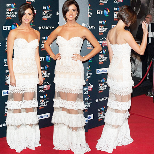Sheer attention: All eyes on Lucy Mecklenburgh!, battersea evolution venue,  bt sport industry awards,  towie,   lucy mecklenburgh,  fashion,  fashion accessories,  fashion trends 2014,  see-through skirt