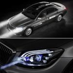 New Mercedes headlight technology lets allow to communicate through words